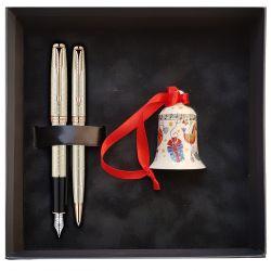 Seturi instrumente de scris Set pix si stilou Parker Sonnet Velvet Silver si clopotel Versace